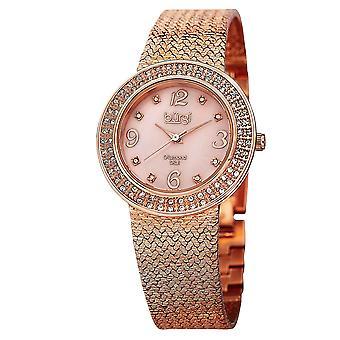 Burgi Women's Crystal Accented Rose Gold Swiss Quartz and Rose Gold Bracelet Watch  BUR097RG