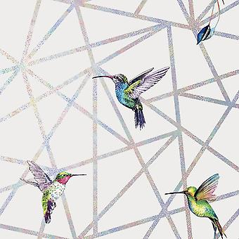 Holden Decor Loja Geometric Humming Bird Print Grey Metallic Wallpaper Modern