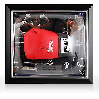 Anthony Joshua Red Signed Boxing Glove In Deluxe Dome Frame