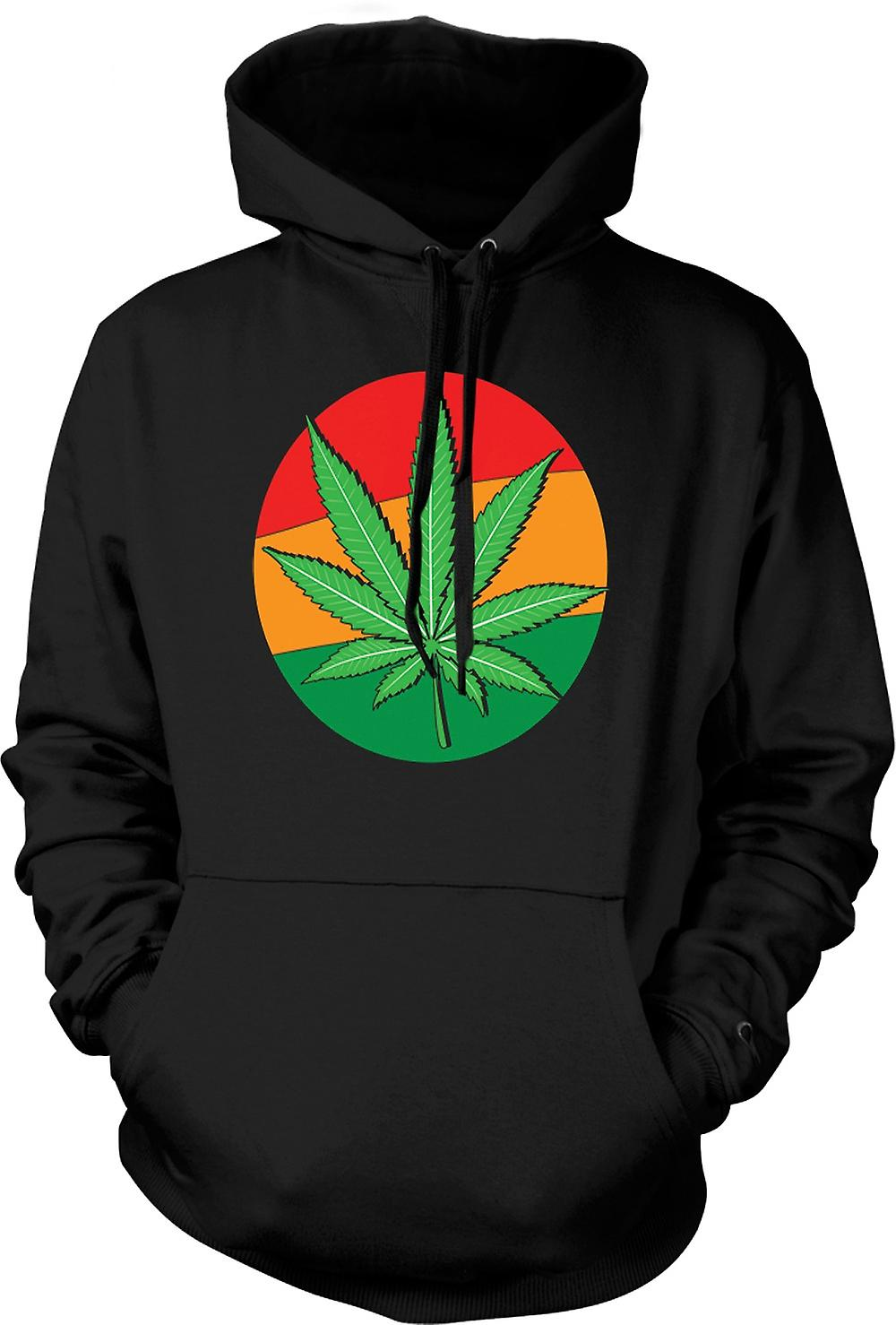 Mens Hoodie - Hash Leaf Jamaica flagga - Cool