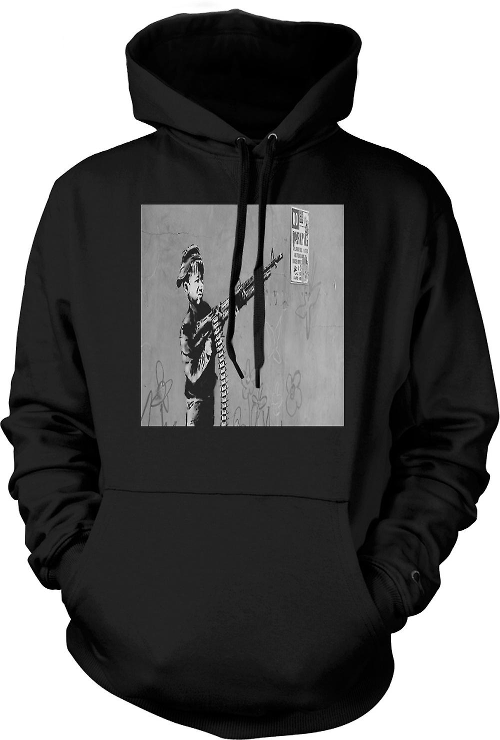 Mens Hoodie - Banksy Kid With M60 Machien Gun Wall Design