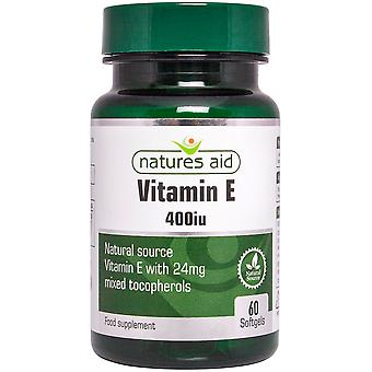 Natures Aid Vitamin E 400iu Natural Form, 60 Capsules