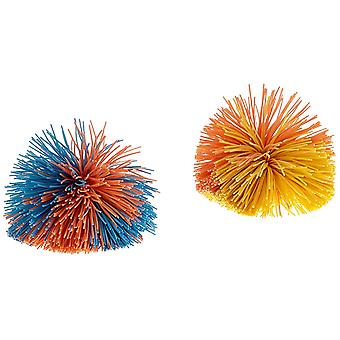 Pom Pom Ball - Set of 2- For Throwing and Handling Games Indoors and Outdoors - 2 Lightweight Colourful Rubber Balls