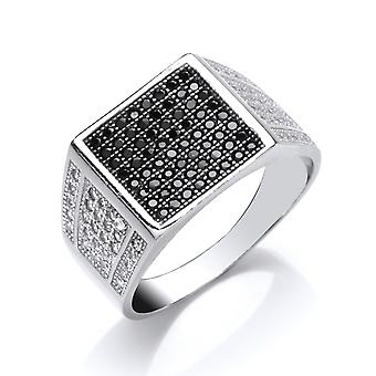 Jewelco London Mens Rhodium Plated Silver Black Round Brilliant Cubic Zirconia Pave Encrusted Square Signet Ring