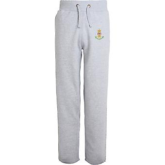 Green Howards Colour - Licensed British Army Embroidered Open Hem Sweatpants / Jogging Bottoms