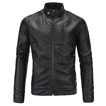 Allthemen Men's Leather Jacket Solid Stand Collar Zipper Leather Coat