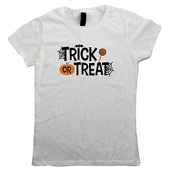 Trick Or Treat Womens T-Shirt | Halloween Fancy Dress Costume Trick Or Treat | Hallows Eve Ghost Pumpkin Witch Trick Treat Spooky | Halloween Gift Her Mum