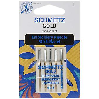 Gold Embroidery Machine Needles Size 14 90 5 Pkg 1825