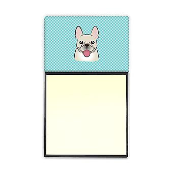 Checkerboard Blue French Bulldog Refiillable Sticky Note Holder or Postit Note Dispenser BB1176SN