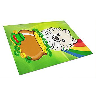 Pomeranian St. Patrick's Day Glass Cutting Board Large BB1951LCB