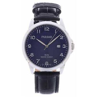 Pulsar Mens Black Leather Strap Blue Dial PS9443X1 Watch