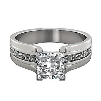 1.4 Carat H VS1 Diamond Engagement Ring 14K White Gold Solitaire w Accents Bridge Channel set