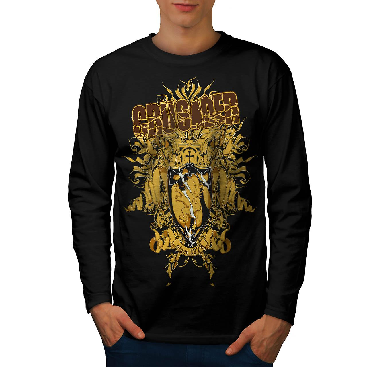 Crusader Knight Hero Warriors Men Black Long Sleeve T-shirt | Wellcoda