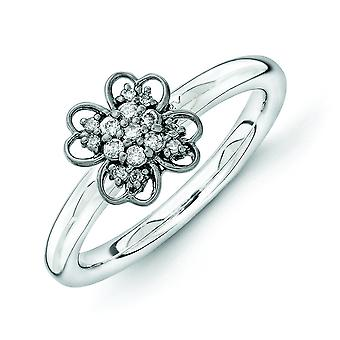 2.25mm Sterling Silver and Balck-plated Stackable Expressions Diamond Flower Ring - Ring Size: 5 to 10