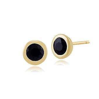 Gemondo 9ct Yellow Gold Framed Round 0.77ct Sapphire Stud Earrings