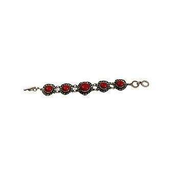 Röd vintage bohemiska uttalande armband