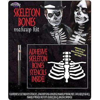 Palmer Agencies Skeleton Bones Makeup Kit Halloween Fancy Dress Costume