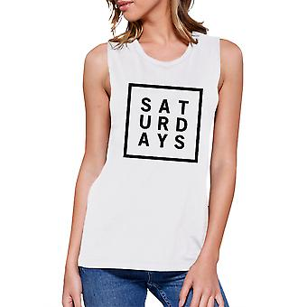 Saturdays Womens White Muscle Top Trendy Typography Workout Shirt