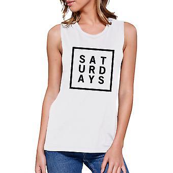 土曜日レディース白筋上部のトレンディなタイポグラフィ トレーニング シャツ