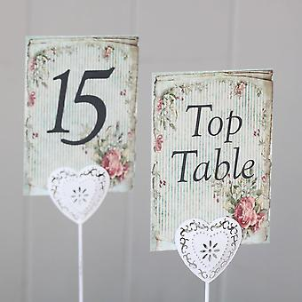Vintage Stripped Green Floral Wedding Table Numbers Top Table - 1 - 15 Rustic