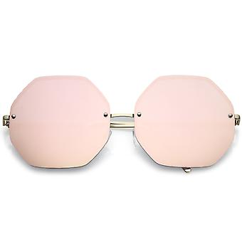 Women's Geometric Octagon Slim Arms Pink Mirrored Oversize Sunglasses 70mm