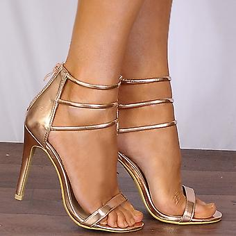 Shoe Closet Rose Gold Metallic Barely There Peep Toes Strappy Sandals Stilettos High Heels