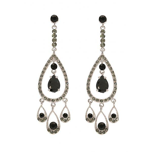 W.A.T Long  Black Crystal Teardrop Chandelier Fashion Earrings