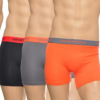 Emporio Armani Mode Multipack Cotton Stretch 3er-Pack Boxer, Schwarz/Grau/Orange, X-Large