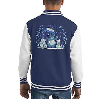 Winter Forest vrienden mijn Neighbor Totoro Pokemon Kid Varsity Jacket