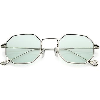 Premium Geometric Octagon Sunglasses Ultra Slim Metal Color Tinted Flat Lens 49mm