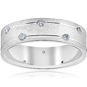 Mens 14k White Gold Diamond Comfort Fit Wedding Ring Band 6MM