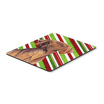 Vizsla Candy Cane Holiday Christmas Mouse Pad, Hot Pad or Trivet