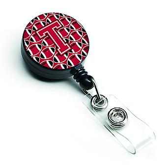 Letter T voetbal Crimson en wit intrekbare Badge Reel