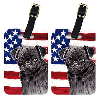 Carolines Treasures  SC9011BT Pair of USA American Flag with Pug Luggage Tags