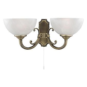 Searchlight 3772-2AB Windsor 2 Light Glass & Antique Brass Wall Lamp