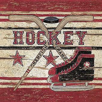 Hockey Poster Print by Linda Spivey (12 x 12)
