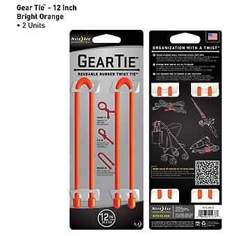 Nite Ize Gear Tie 12 inch Twin Pack (Orange)