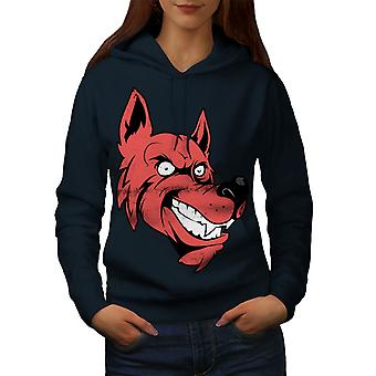 Wolf Face Cartoon Women NavyHoodie | Wellcoda
