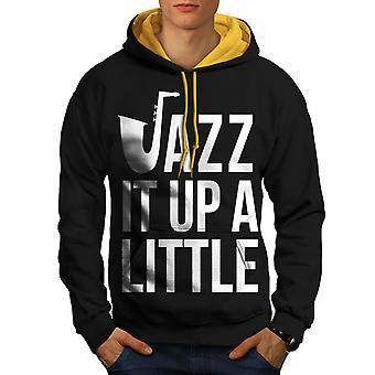 Jazz un poco con hombres negro con capucha de contraste (campana de oro) | Wellcoda