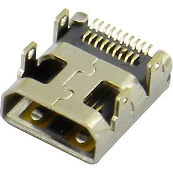 HDMI connector Socket, horizontal mount Silver Attend 206H-SDAN-R01 1 pc(s)