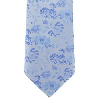 Michelsons of London Subtle Floral Polyester Tie - Light Blue