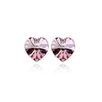 Austrian Elements Light Pink Heart Shaped Rhinestone Stud Earrings