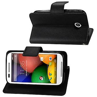 Reiko - 3-in-1 Wallet Case for Motorola Moto E - Black