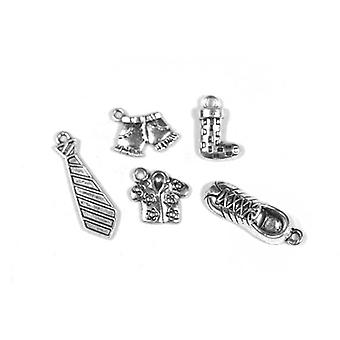 Packet 5 x Antique Silver Tibetan 16-29mm Boy Clothes Charm/Pendant Set ZX17390