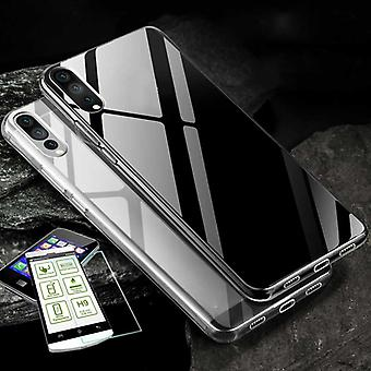 Silikoncase transparent + 0.3 H9 tempered glass for Huawei P20 bag case cover