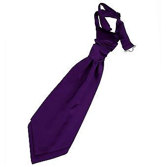 Purple Plain Satin Pre-Tied Wedding Cravat for Boys