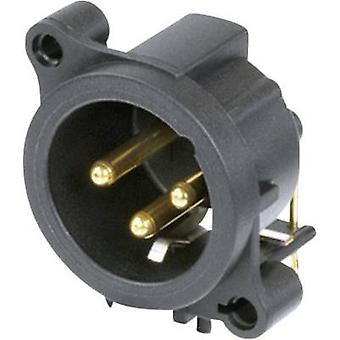 Neutrik NC3MAAH XLR connector Sleeve plug, right angle pins Number of pins: 3 Black 1 pc(s)