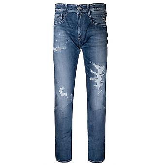 Replay Replay en détresse Indigo bleu Anbass Super Stretch Jean