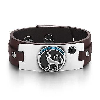 Wild Spirit Moon Howling Wolf Amulet Tag Simulated Onyx Adjustable Dark Brown Leather Bracelet