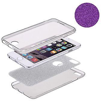 Crystal Case hoes voor de Apple iPhone 7 glitter case paars volledige lichaam